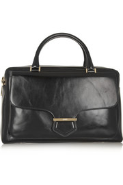 Military large glossed-leather tote