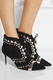 Sophia Webster Riko metallic leather-trimmed suede ankle boots