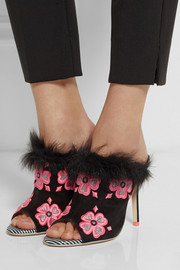Sophia Webster Louby embroidered marabou-trimmed suede mules