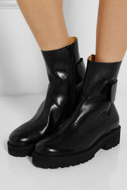 MM6 Maison Martin Margiela Glossed leather ankle boots