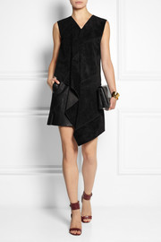 Derek Lam Leather-paneled suede mini dress