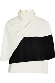 Derek Lam Wrap-effect two-tone crepe top