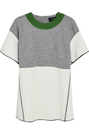 Derek Lam Wool-blend jersey and bouclé-wool top