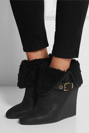 Burberry Shoes & Accessories Shearling-lined textured-leather wedge ankle boots