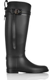 Leather-trimmed Wellington boots