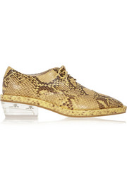 Snake-effect leather brogues