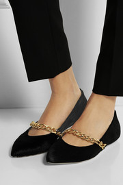 Simone Rocha Chain-embellished calf hair point-toe flats