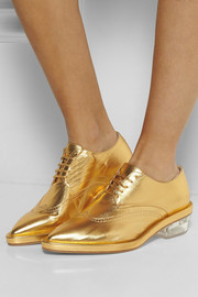 Simone Rocha Metallic textured-leather brogues