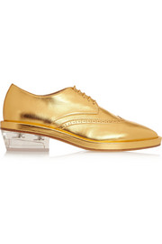 Metallic textured-leather brogues