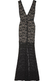 Alice + Olivia Mia stretch-cotton blend lace maxi dress