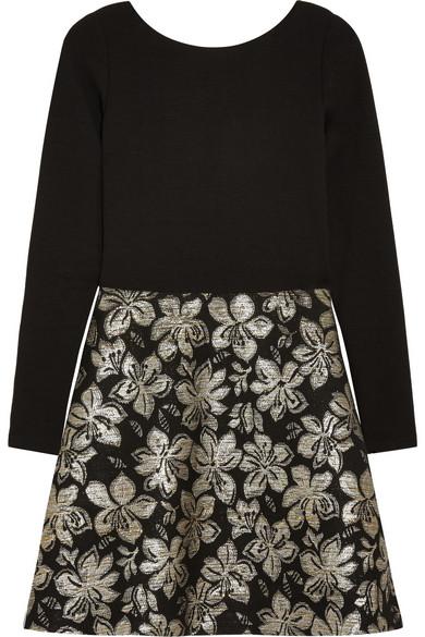 645eafe1a65557 Alice + Olivia. Sarah jersey-crepe and metallic floral-jacquard mini dress