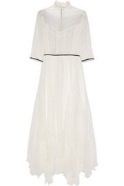 Alice + Olivia Victoriana silk-chiffon and Chantilly lace maxi dress