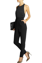 Alice + Olivia Angen pleated chiffon and crepe jumpsuit