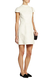 Alice + Olivia Lantern mesh-paneled metallic tweed mini dress