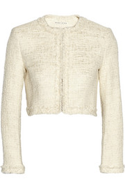 Alice + Olivia Cropped metallic tweed jacket