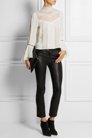 Alice + Olivia Brett lace-paneled stretch-silk georgette top