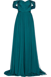 Marchesa Off-the-shoulder silk-chiffon gown