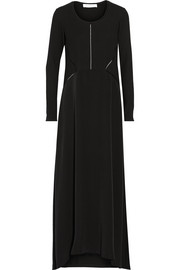 Thakoon Addition Waffle-knit and silk crepe de chine maxi dress