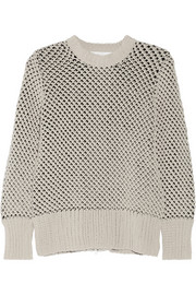 Two-tone open-knit sweater