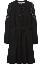 ALICE by Temperley Dawn embroidered tulle-paneled crepe dress