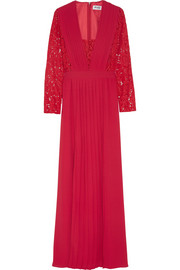 ALICE by Temperley Macey lace-paneled pleated crepe maxi dress