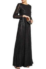 ALICE by Temperley Rosette faux leather-appliquéd tulle gown
