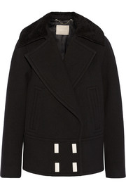 Jason Wu Shearling-trimmed wool-faille peacoat