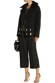 Shearling-trimmed wool-faille peacoat