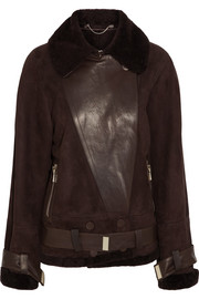 Jason Wu Oversized leather-paneled shearling biker jacket