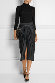 Jason Wu Draped duchesse-satin midi skirt