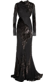 Jason Wu Cutout devoré-velvet and chiffon gown