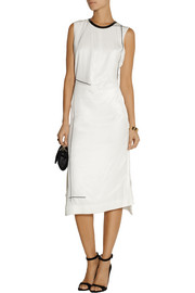 Reed Krakoff Leather-trimmed asymmetric stretch-silk twill dress
