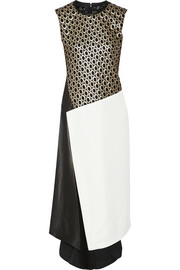 Reed Krakoff Paneled eyelet-lace, twill and leather dress