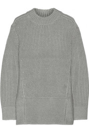 Oversized ribbed wool and silk-blend sweater