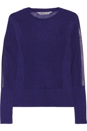 Reed Krakoff Leather-trimmed open-knit cashmere sweater