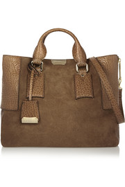 Burberry Shoes & Accessories Textured leather-paneled suede tote