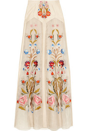 Temperley London Toledo floral-embroidered silk-blend organza maxi skirt