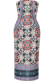 Merida quilted printed silk-blend chiffon dress