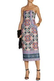 Temperley London Merida quilted printed silk-blend chiffon dress