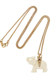 Kenneth Jay Lane Gold-plated resin elephant necklace
