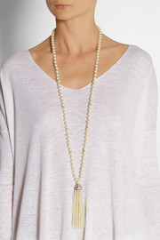 Kenneth Jay Lane Faux pearl and Swarovski crystal necklace