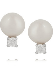 Silver-plated, faux pearl and cubic zirconia earrings