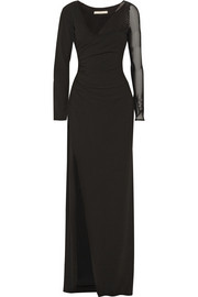 Halston Heritage Mesh-paneled stretch-crepe gown