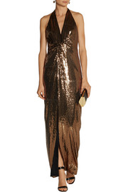Halston Heritage Sequined jersey gown