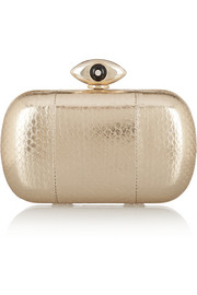 Diane von Furstenberg Evil Eye metallic elaphe box clutch