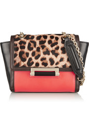 Diane von Furstenberg 440 mini leather and leopard-print calf hair shoulder bag