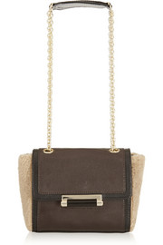 Diane von Furstenberg Shearling-paneled leather shoulder bag