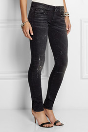 R13 Distressed low-rise skinny jeans