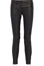 R13 Moto coated mid-rise skinny jeans