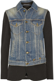 R13 Layered leather-trimmed twill blazer and denim vest